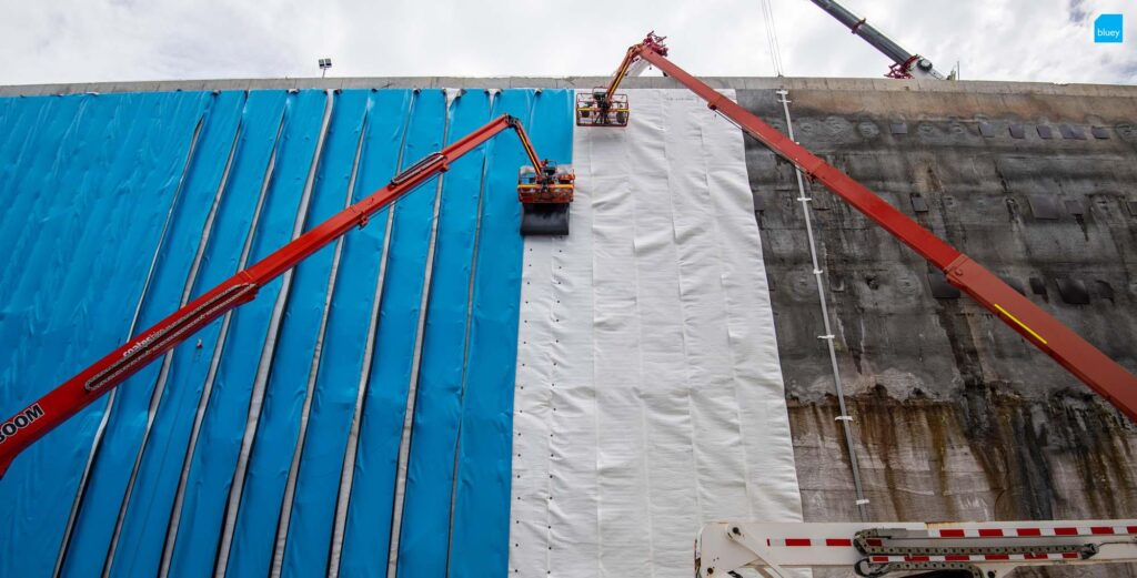 Waterproofing Technicians installing BluSeal PVC at the Sydney Metro Waterloo Station