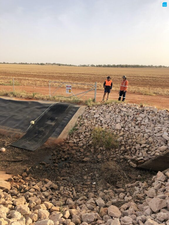 BluSeal AKS used as matting to help animals escape irrigation channels