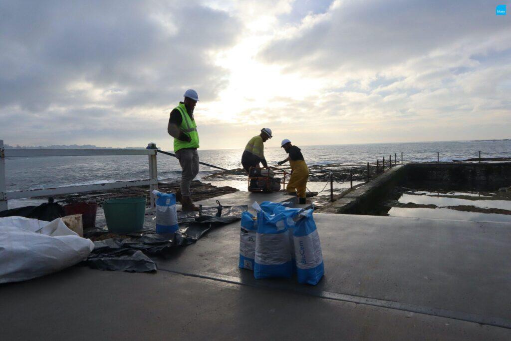 Marine Repiars Strengthening Ocean Pool Wall with BluCem HE80